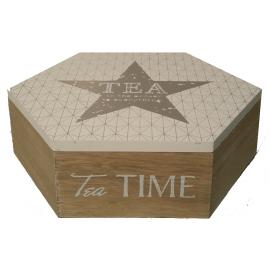 Boite à thé bois 4 cases étoile